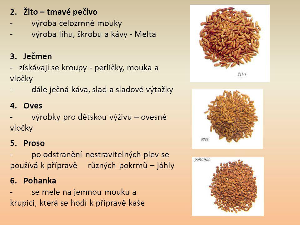 2. Žito – tmavé pečivo - výroba celozrnné mouky. - výroba lihu, škrobu a kávy - Melta.