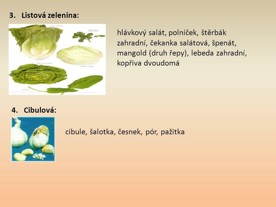 3. Listová zelenina: hlávkový salát, polníček, štěrbák zahradní, čekanka salátová, špenát, mangold (druh řepy), lebeda zahradní, kopřiva dvoudomá.