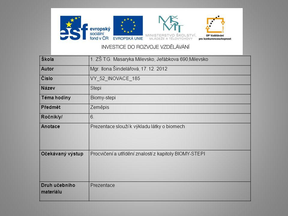 Škola 1. ZŠ T.G. Masaryka Milevsko, Jeřábkova 690,Milevsko. Autor. Mgr. Ilona Šindelářová, 17. 12. 2012.