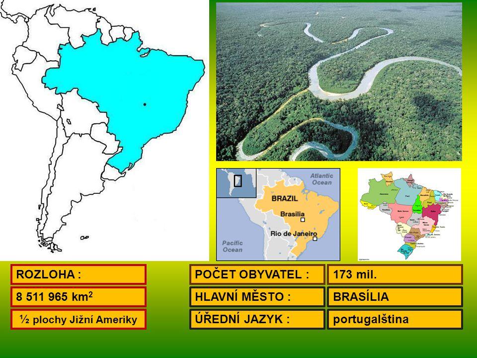ROZLOHA : POČET OBYVATEL : 173 mil. 8 511 965 km2. HLAVNÍ MĚSTO : BRASÍLIA. ½ plochy Jižní Ameriky.