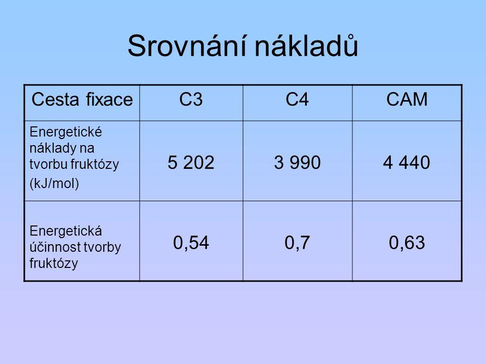 Srovnání nákladů Cesta fixace C3 C4 CAM 5 202 3 990 4 440 0,54 0,7