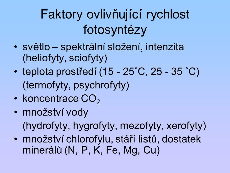 Faktory ovlivňující rychlost fotosyntézy