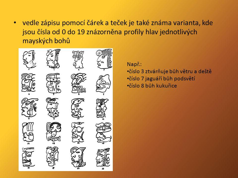 vedle zápisu pomocí čárek a teček je také známa varianta, kde jsou čísla od 0 do 19 znázorněna profily hlav jednotlivých mayských bohů