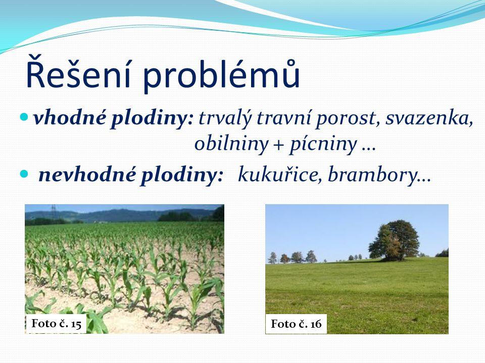Řešení problémů vhodné plodiny: trvalý travní porost, svazenka, obilniny + pícniny … nevhodné plodiny: kukuřice, brambory…