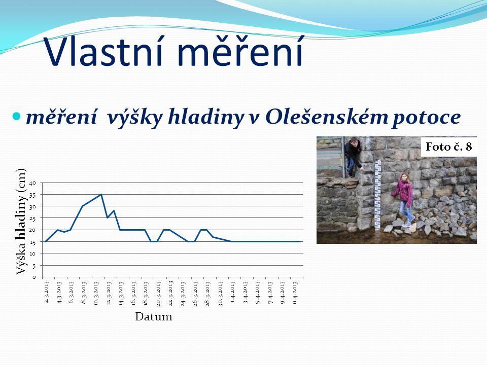 Vlastní měření měření výšky hladiny v Olešenském potoce Foto č. 8