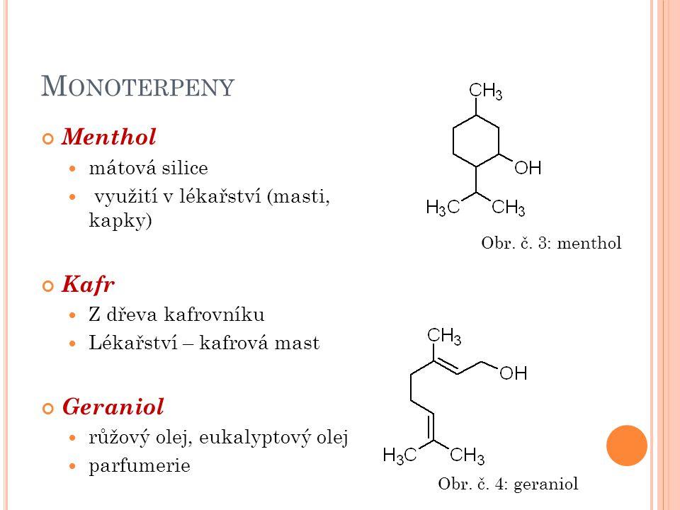 Monoterpeny Menthol Kafr Geraniol mátová silice