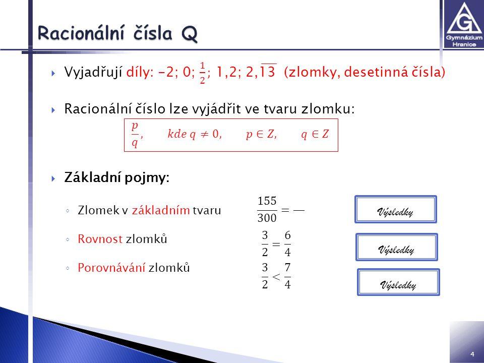VY inovace 32 01 Z2 IM Racionální čísla Q. Vyjadřují díly: -2; 0; 1 2 ; 1,2; 2,13 (zlomky, desetinná čísla)