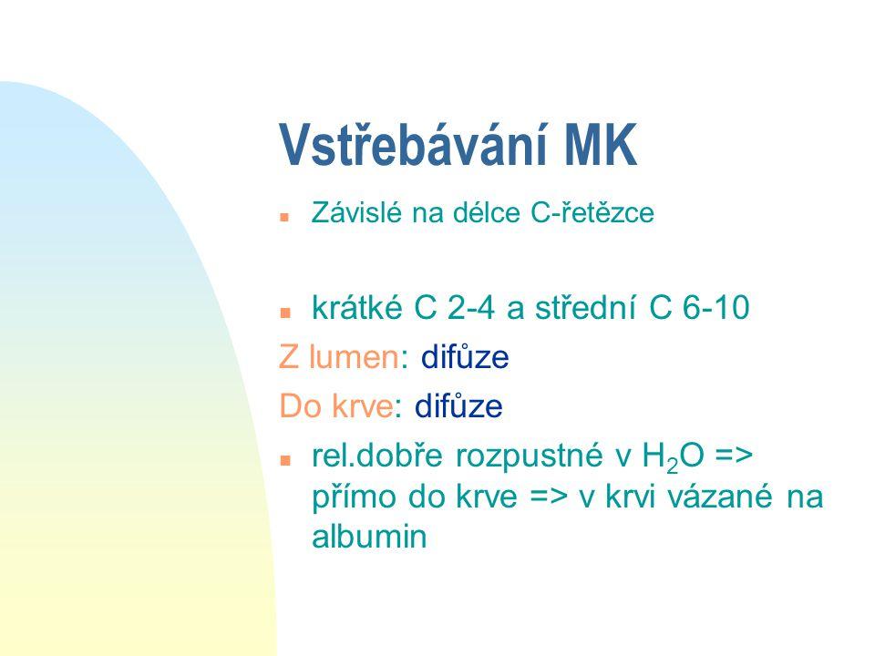 Vstřebávání MK krátké C 2-4 a střední C 6-10 Z lumen: difůze