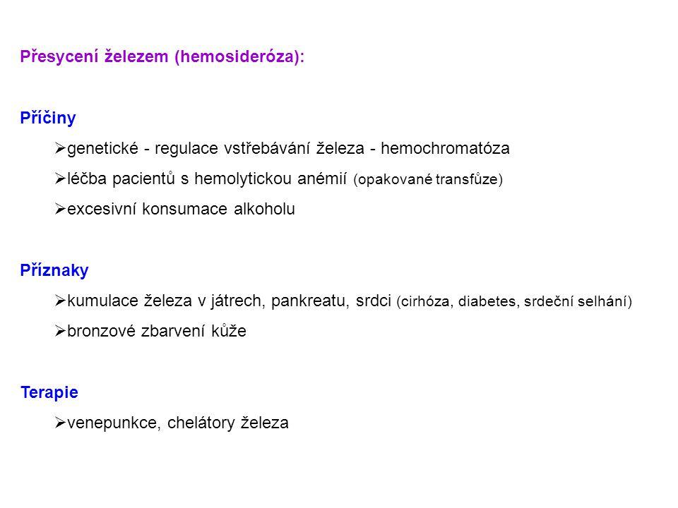 Přesycení železem (hemosideróza):