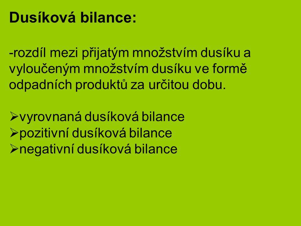 Dusíková bilance: rozdíl mezi přijatým množstvím dusíku a vyloučeným množstvím dusíku ve formě odpadních produktů za určitou dobu.