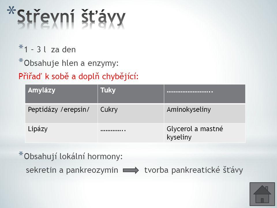 Střevní šťávy 1 – 3 l za den Obsahuje hlen a enzymy: