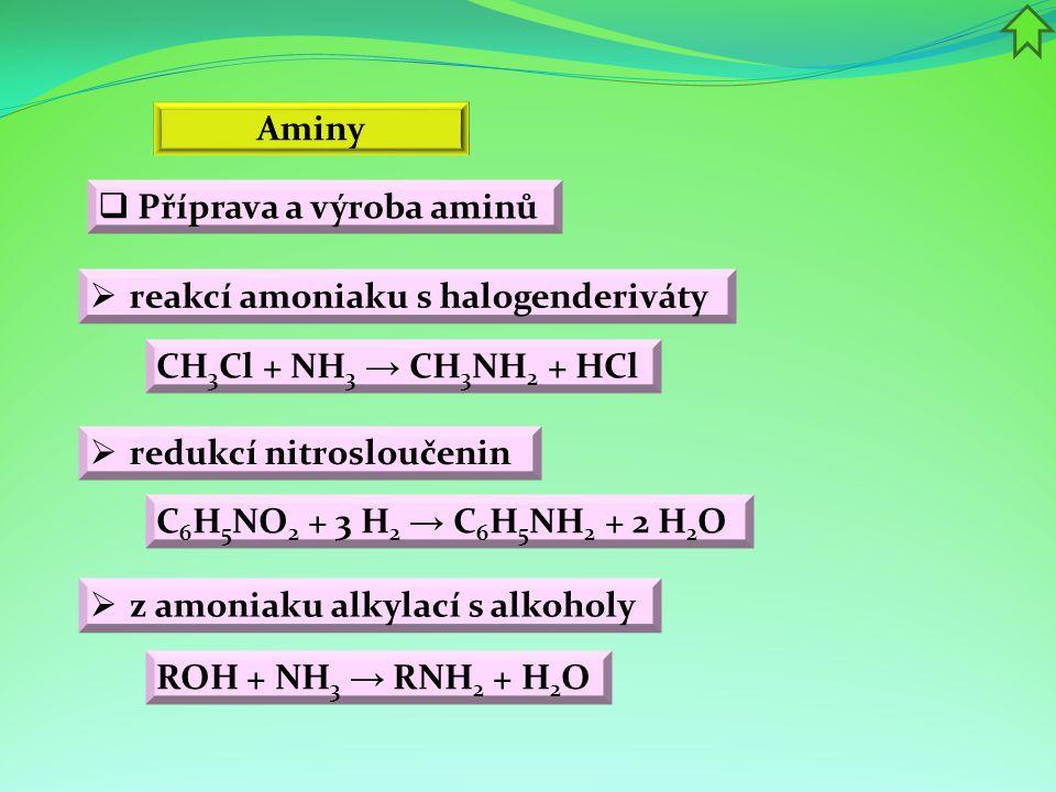 Aminy Příprava a výroba aminů. reakcí amoniaku s halogenderiváty. CH3Cl + NH3 → CH3NH2 + HCl. redukcí nitrosloučenin.
