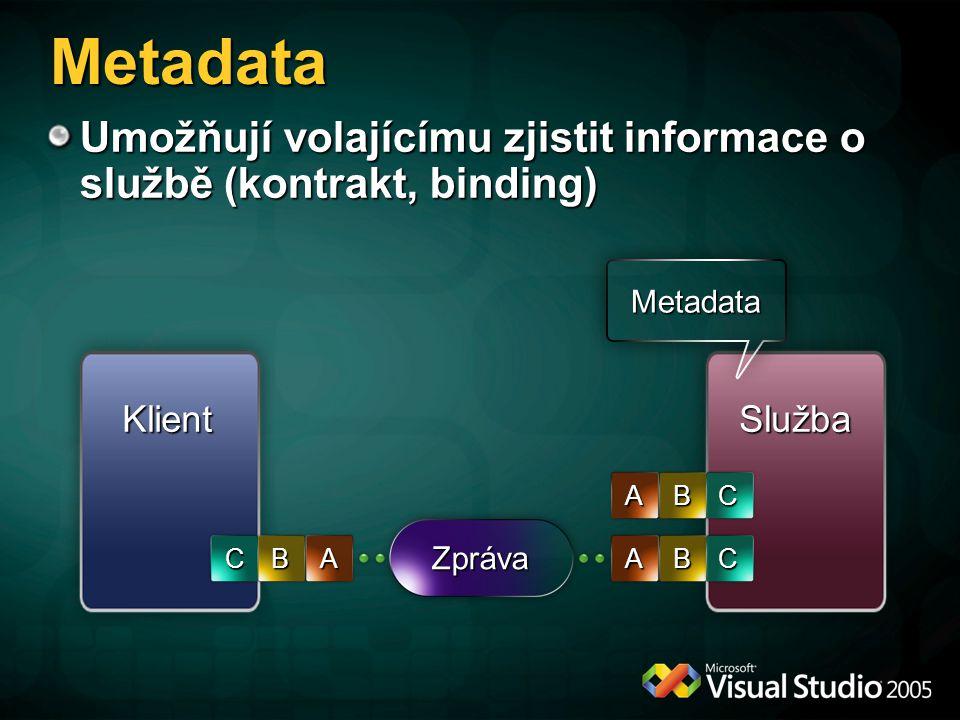 Metadata Umožňují volajícímu zjistit informace o službě (kontrakt, binding) Metadata. Klient. Služba.