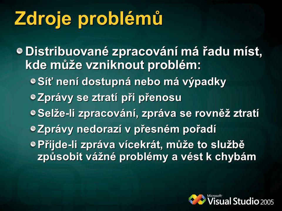 Zdroje problémů Distribuované zpracování má řadu míst, kde může vzniknout problém: Síť není dostupná nebo má výpadky.