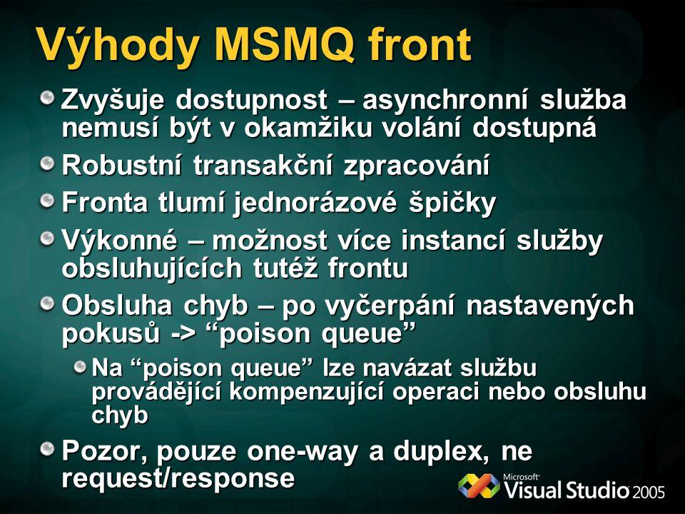 Výhody MSMQ front Zvyšuje dostupnost – asynchronní služba nemusí být v okamžiku volání dostupná. Robustní transakční zpracování.
