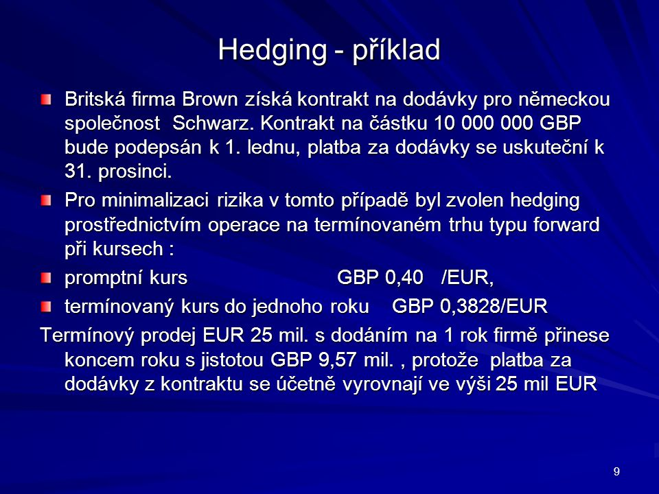 Hedging - příklad