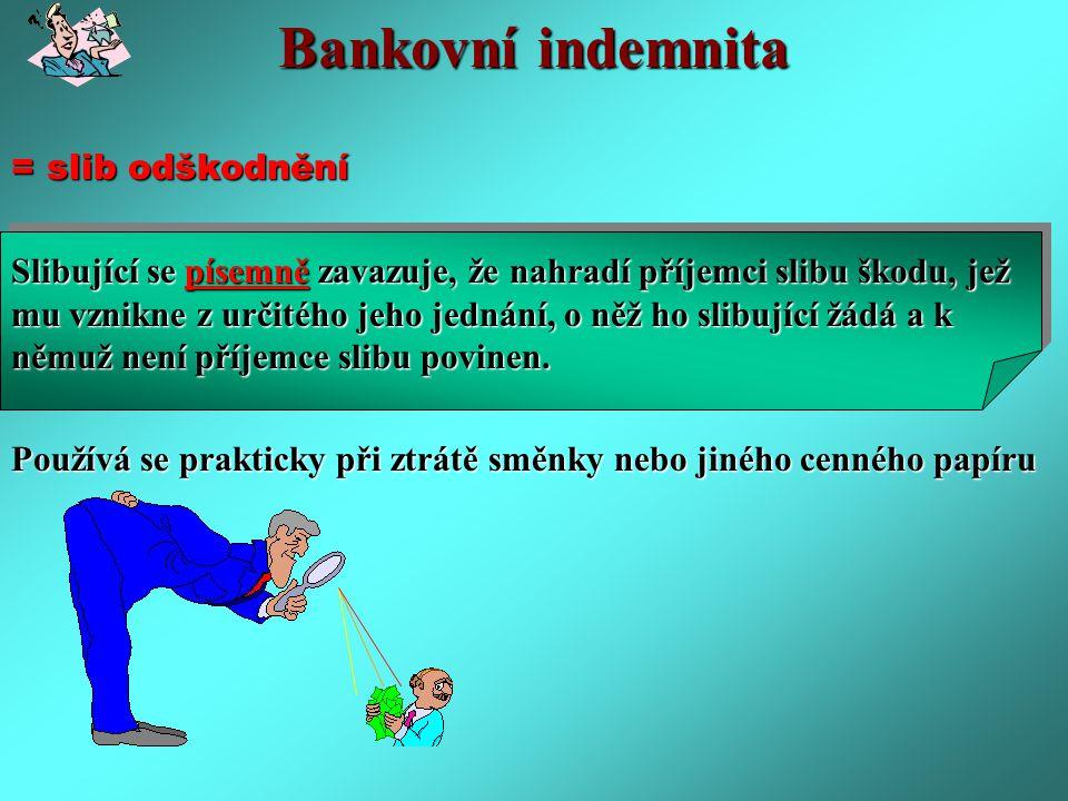 Bankovní indemnita = slib odškodnění