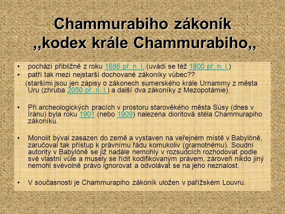 Chammurabiho zákoník ,,kodex krále Chammurabiho,,