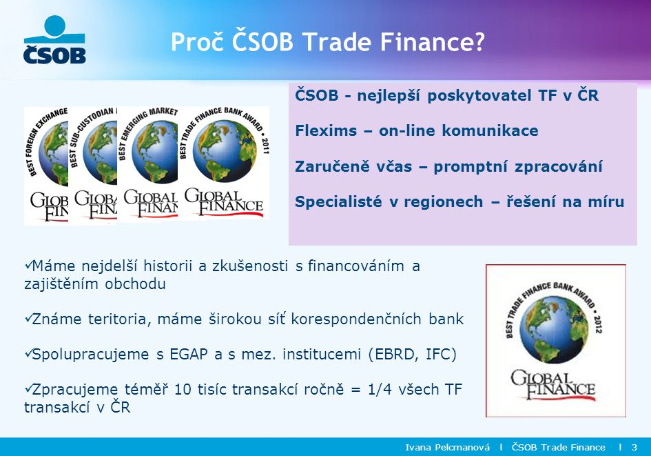 Proč ČSOB Trade Finance