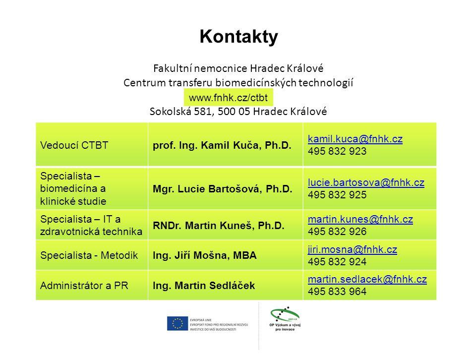 Kontakty Fakultní nemocnice Hradec Králové Centrum transferu biomedicínských technologií Sokolská 581, 500 05 Hradec Králové
