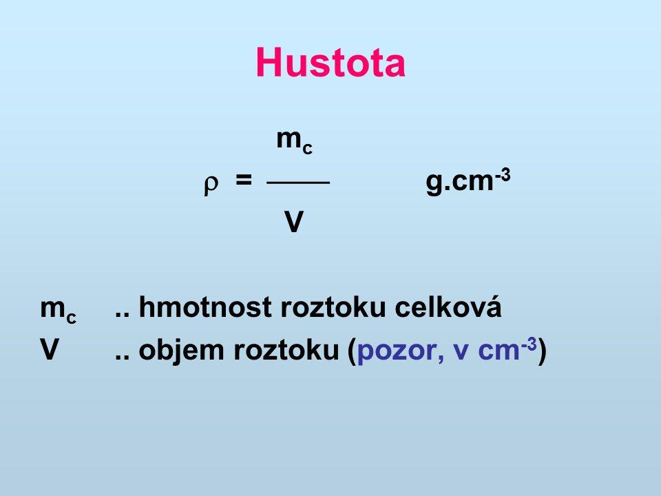 Hustota mc  =  g.cm-3 V mc .. hmotnost roztoku celková