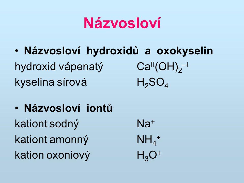 Názvosloví Názvosloví hydroxidů a oxokyselin