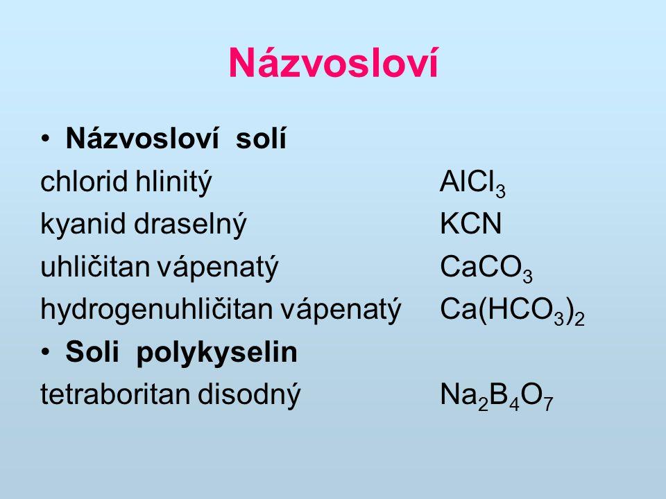 Názvosloví Názvosloví solí chlorid hlinitý AlCl3 kyanid draselný KCN
