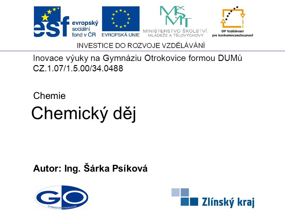 Chemický děj Chemie Autor: Ing. Šárka Psíková