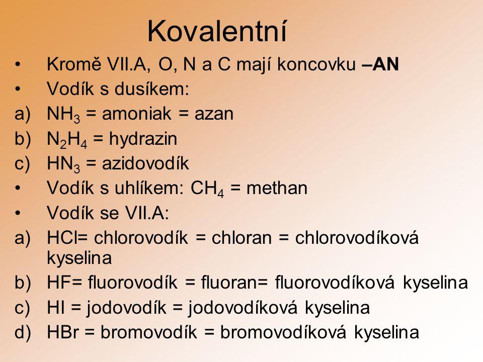 Kovalentní Kromě VII.A, O, N a C mají koncovku –AN Vodík s dusíkem: