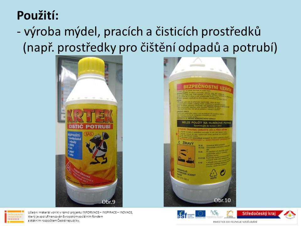 - výroba mýdel, pracích a čisticích prostředků