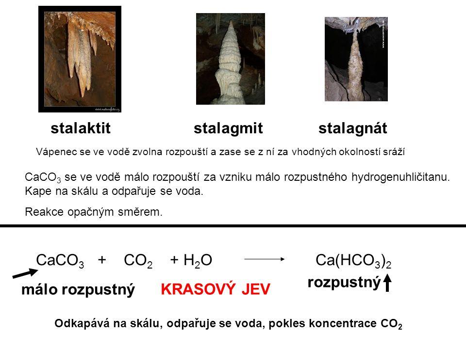 stalaktit stalagmit stalagnát CaCO3 + CO2 + H2O Ca(HCO3)2 rozpustný