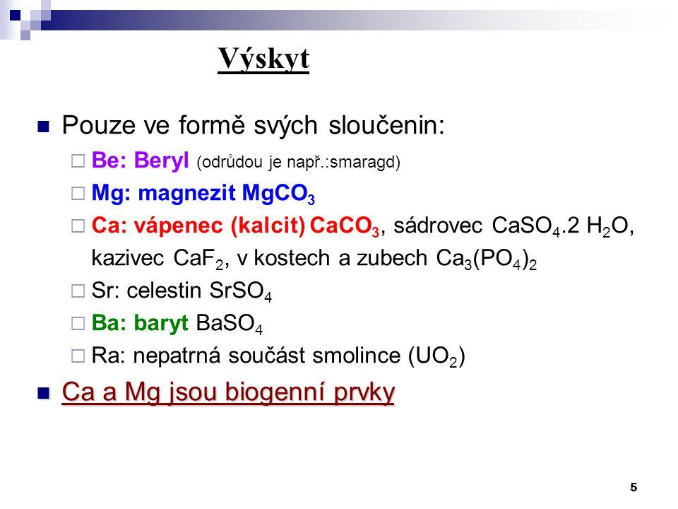Výskyt Pouze ve formě svých sloučenin: Ca a Mg jsou biogenní prvky