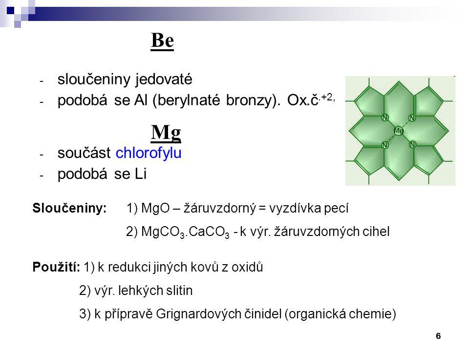 Be Mg sloučeniny jedovaté podobá se Al (berylnaté bronzy). Ox.č.+2,