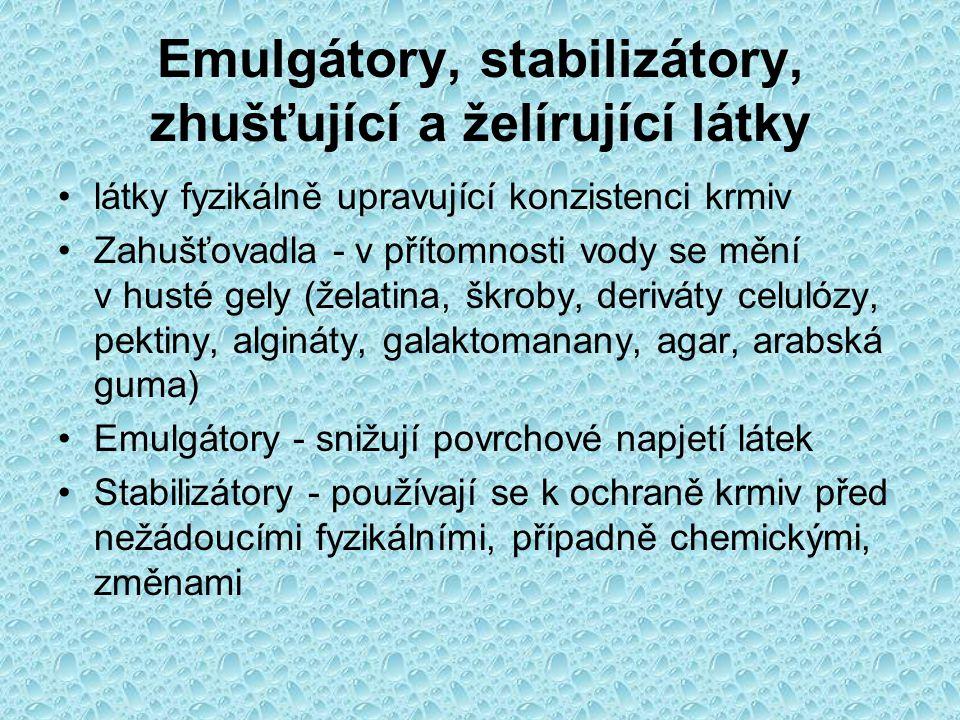Emulgátory, stabilizátory, zhušťující a želírující látky