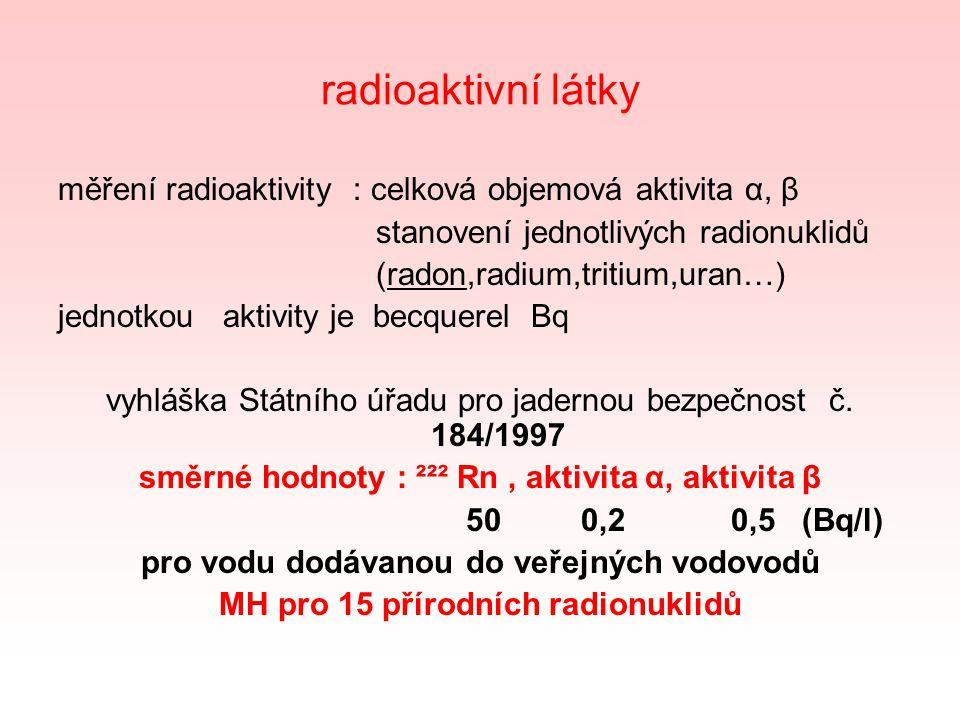 radioaktivní látky měření radioaktivity : celková objemová aktivita α, β. stanovení jednotlivých radionuklidů.