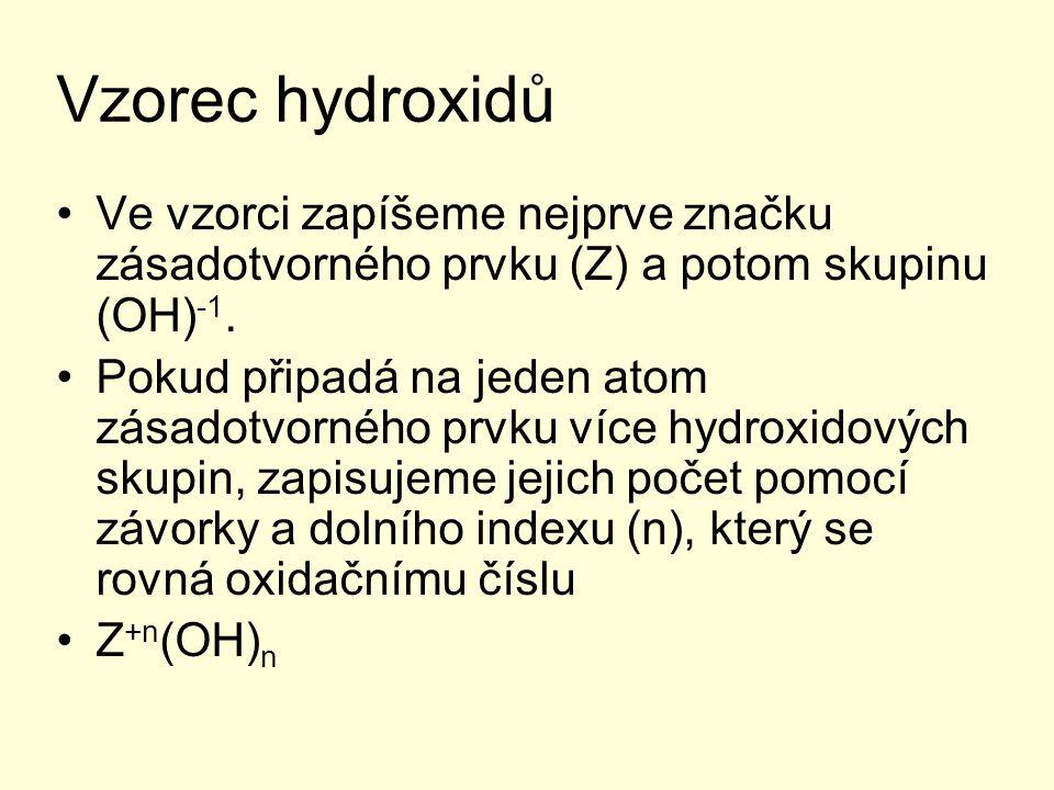 Vzorec hydroxidů Ve vzorci zapíšeme nejprve značku zásadotvorného prvku (Z) a potom skupinu (OH)-1.