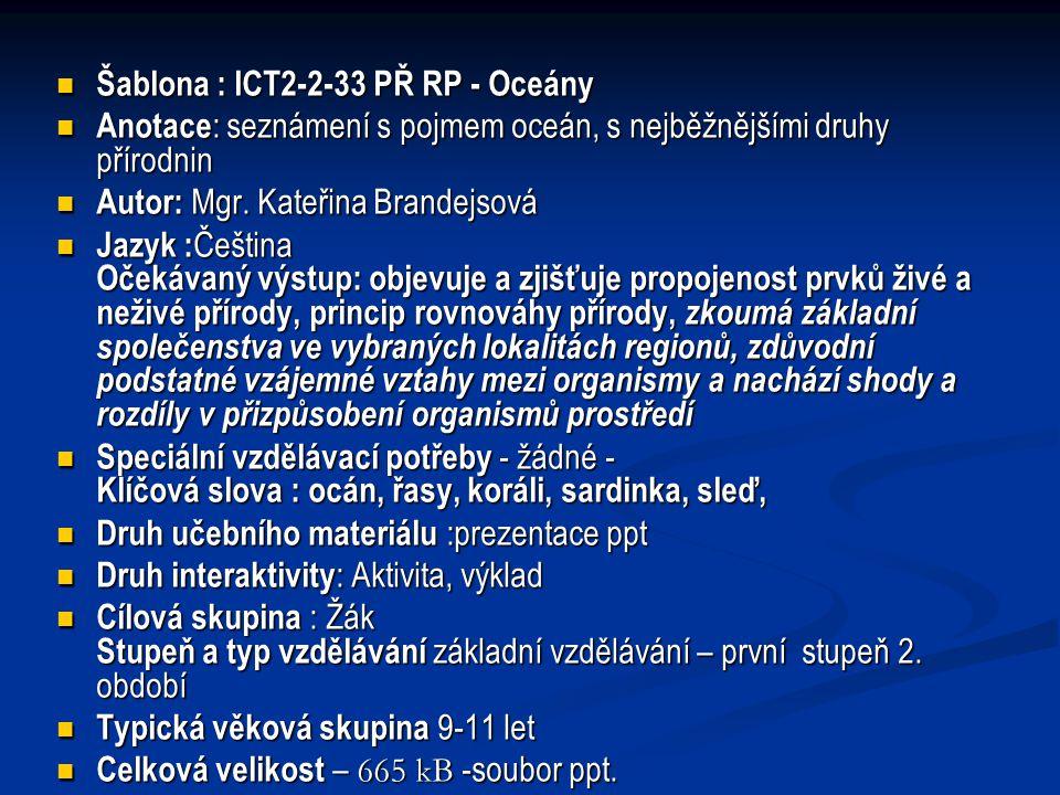 Šablona : ICT2-2-33 PŘ RP - Oceány