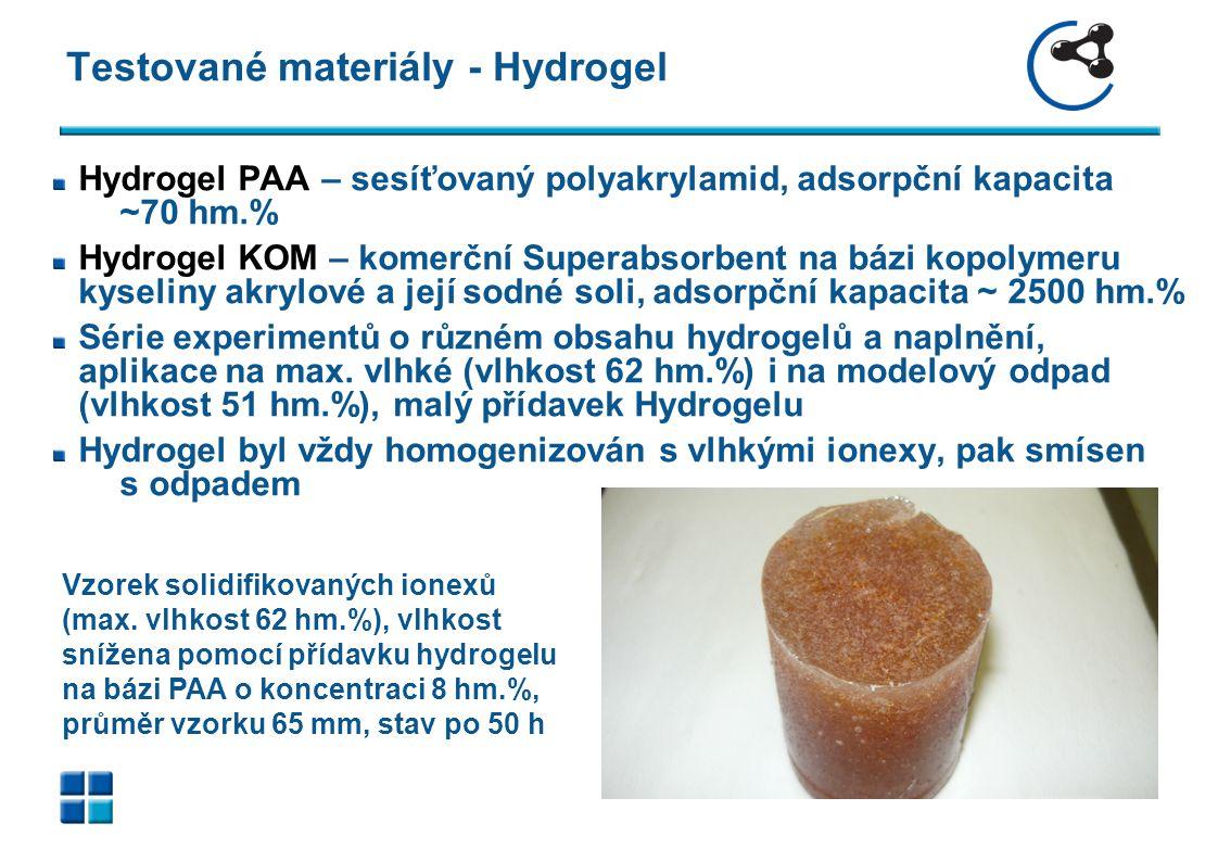 Obrazová příloha Srovnání solidifikátů (max. vlhk. 62 hm.%), průměr vzorku 65 mm, stav po 100 h. PAA s 6 hm.% (vlevo) výborný vulkanizát, gel.