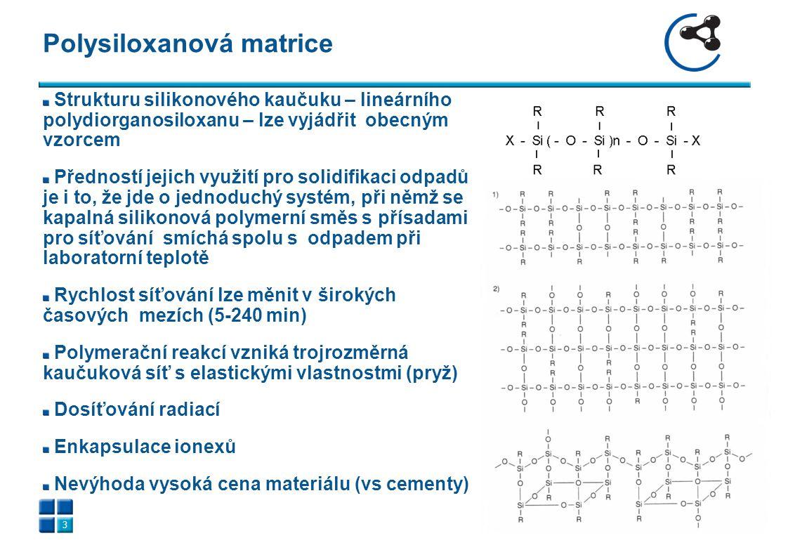 Solidifikované vzorky vysušených ionexů polysiloxanovou matricí