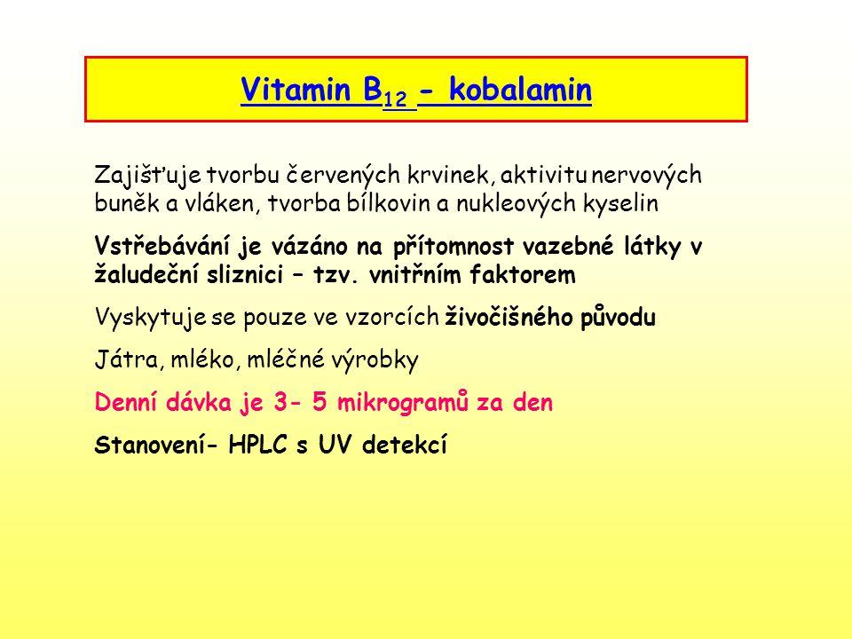 Vitamin B12 - kobalamin. Zajišťuje tvorbu červených krvinek, aktivitu nervových buněk a vláken, tvorba bílkovin a nukleových kyselin.