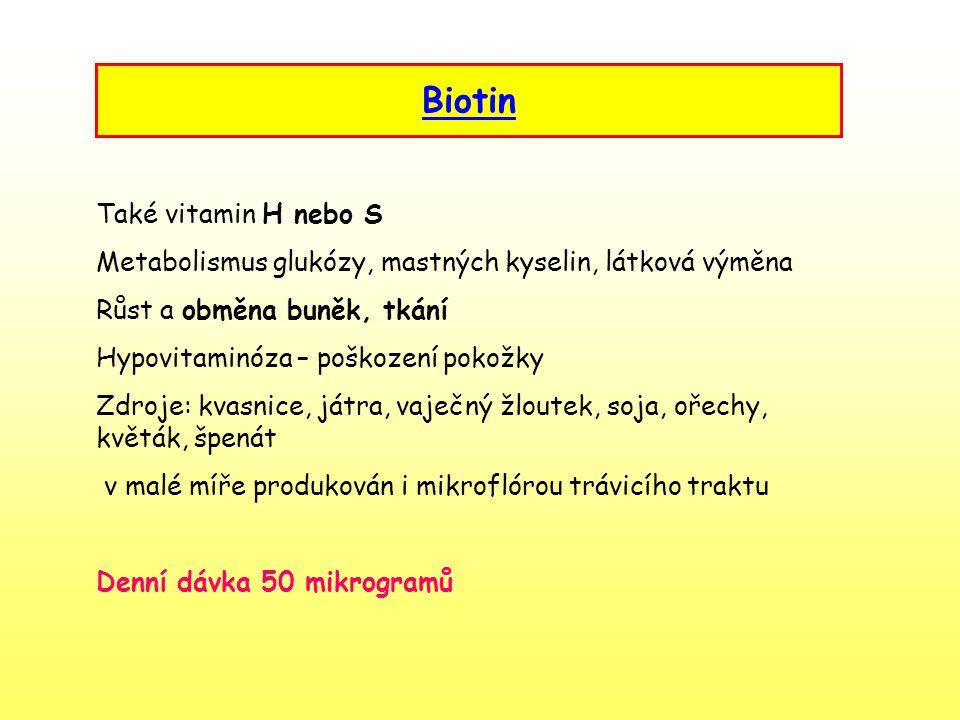 Biotin Také vitamin H nebo S
