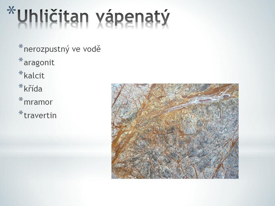 Uhličitan vápenatý nerozpustný ve vodě aragonit kalcit křída mramor