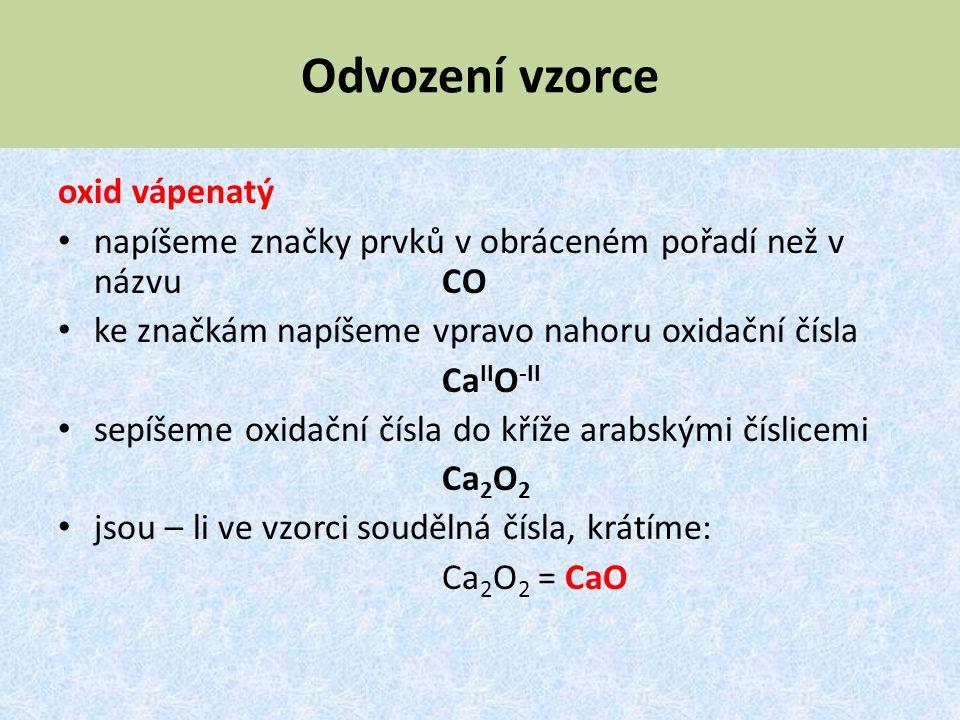 Odvození vzorce oxid vápenatý