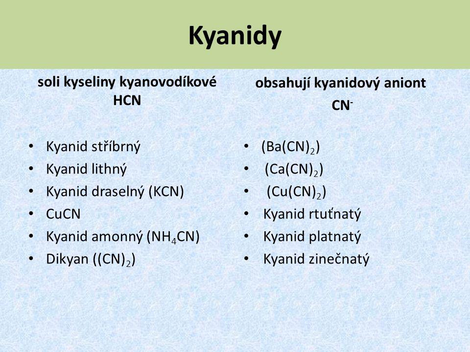 soli kyseliny kyanovodíkové HCN obsahují kyanidový aniont