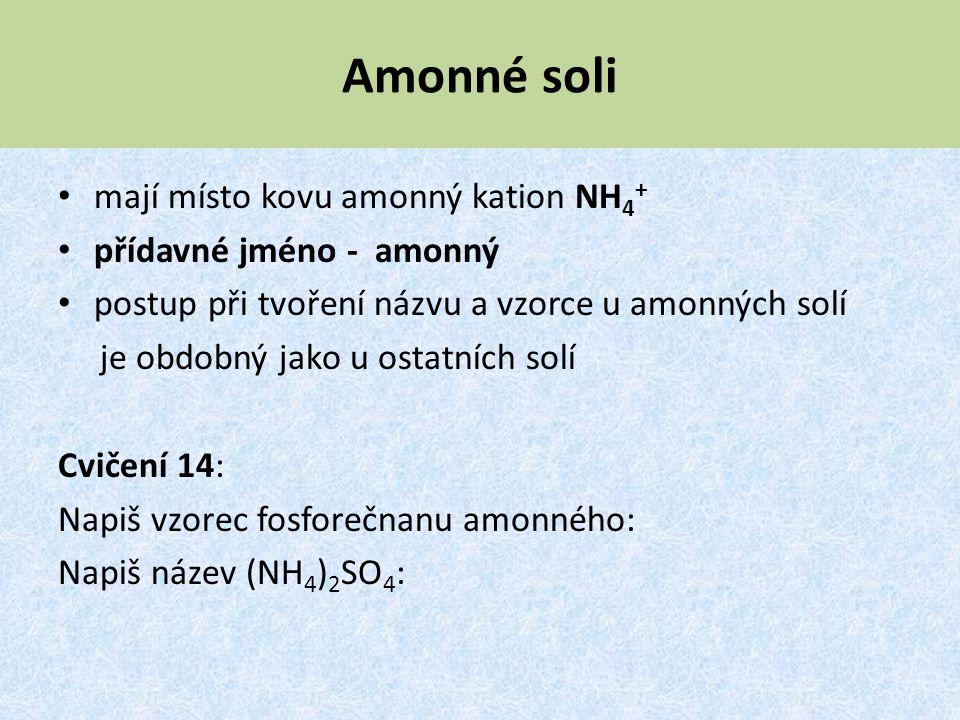 Amonné soli mají místo kovu amonný kation NH4+ přídavné jméno - amonný
