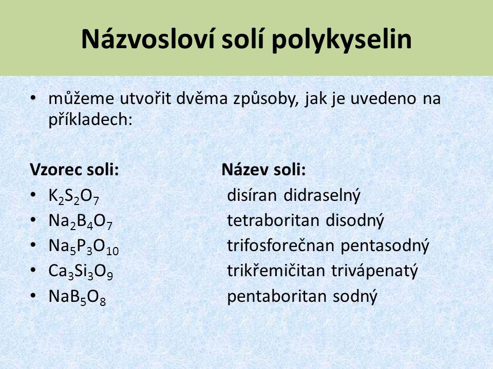 Názvosloví solí polykyselin