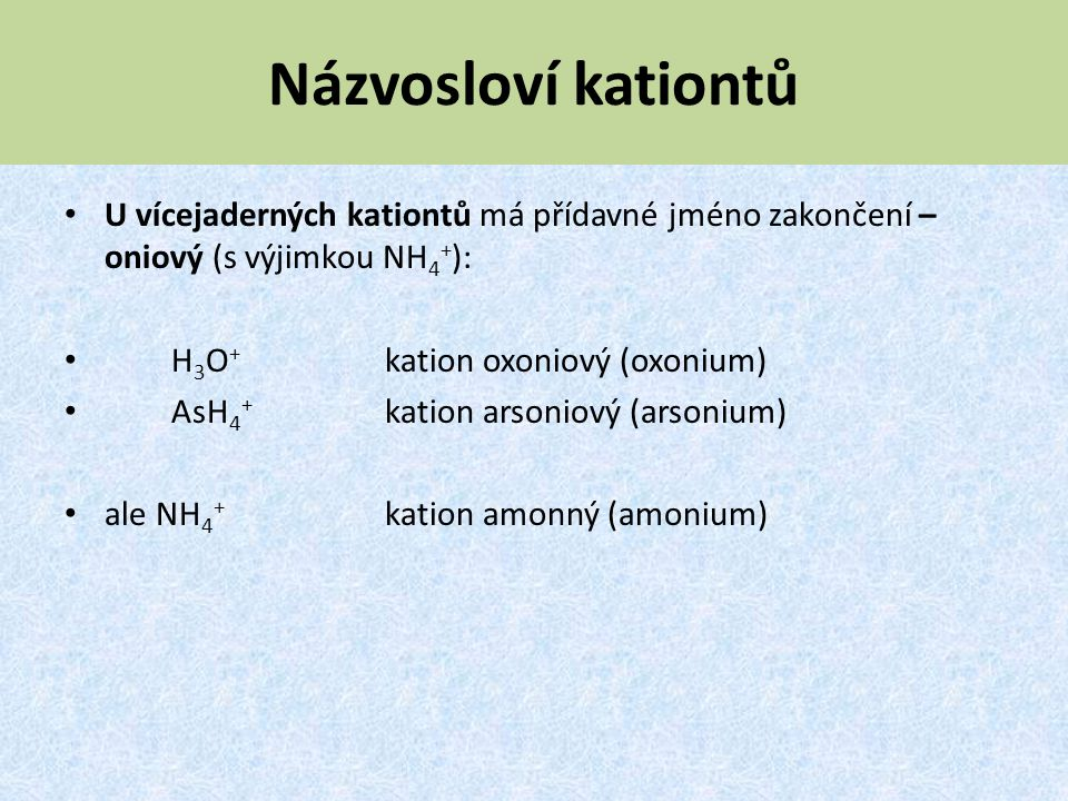 Názvosloví kationtů U vícejaderných kationtů má přídavné jméno zakončení –oniový (s výjimkou NH4+):