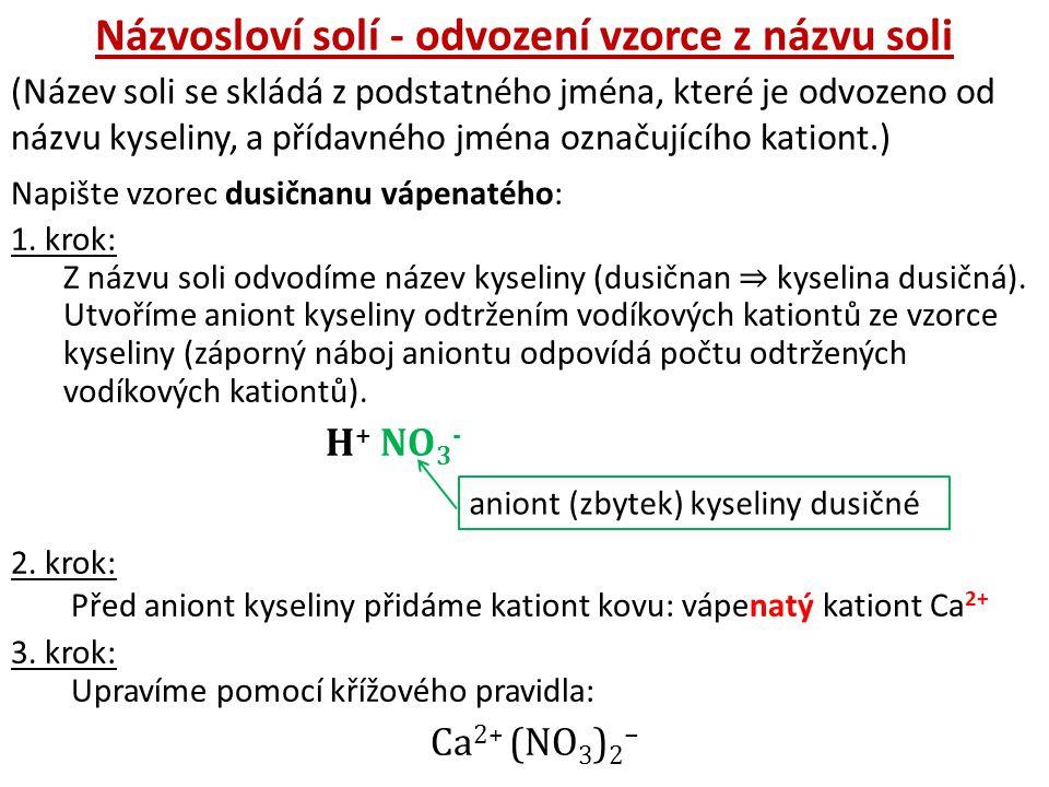 Názvosloví solí - odvození vzorce z názvu soli