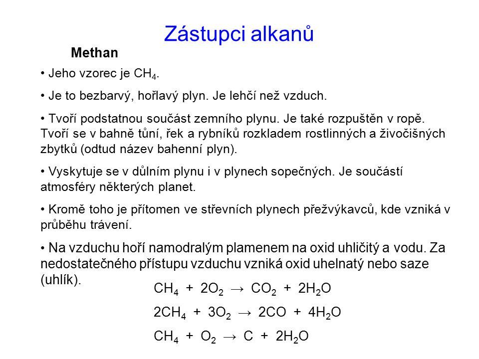Zástupci alkanů Methan CH4 + 2O2 → CO2 + 2H2O 2CH4 + 3O2 → 2CO + 4H2O