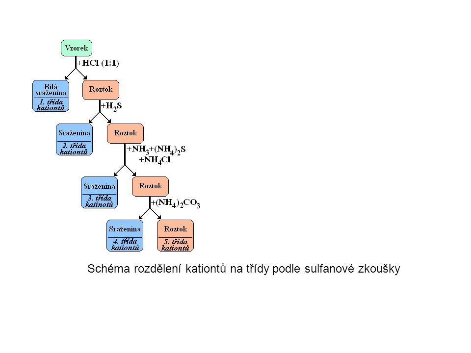 Schéma rozdělení kationtů na třídy podle sulfanové zkoušky
